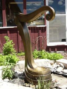 Bronze Poolside #sculpture by #sculptor Brett Davis titled: 'Water Harp (Bronze Fountain or Water Features Sculptures)' #art