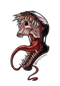 'ven skull' Sticker by annyd - Spiderman Tattoo, Spiderman Kunst, Marvel Tattoos, Cartoon Kunst, Comic Kunst, Cartoon Art, Comic Art, Art Venom, Venom Tattoo