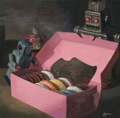 """Pandoras Box"" by Eric Joyner, San Francisco // robots find a box of donuts. // Imagekind.com -- Buy stunning fine art prints, framed prints and canvas prints directly from independent working artists and photographers."