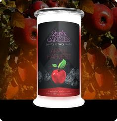 Apple Harvest evokes the smell of crisp fall days. The smell of this jewelry candle brings to life everything there is to love about apples! Crisp, juicy, with just a hint of spice, you will think you've just used an apple press without even leaving your couch! Apple harvest candles with jewelry. This apple fragrance is infused with natural ceaderwood, cinnamon, nutmeg, clove, orange, and cedarwood essential oils.