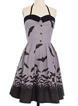 Back In Stock - Bats In The Night Dress by Sourpuss Clothing