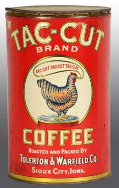 Tac-cut Brand Coffee tin. Coffee Jars, Coffee Tin, Coffee And Books, Coffee Drinks, Vintage Packaging, Coffee Packaging, Vintage Tins, Vintage Coffee, Vintage Decor