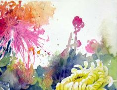 Lian Zhen demo, chinese watercolors, flowers demonstration, watercolor flower lesson, blending watercolor, free watercolor tutorial