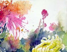 Lian Zhen demo, chinese watercolors, flowers demonstration, watercolor flower lesson, blending watercolor, free watercolor tutorial