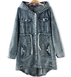 Amazon.com: Women'S Loose Classic Hooded Denim Jacket Coat Tops Button Closure Inner Tartan: Clothing