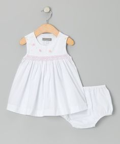 This White Flower Smocked Dress & Diaper Cover - Infant by Les Petits Soleils by Fantaisie Kids is perfect! #zulilyfinds