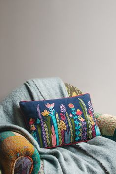 Perennials Embroidered Cotton Cushion Cover Our perennial flower cushion cover is blooming brilliance! Skillfully embroidered by master Front Room Furnishings, Soft Furnishings, Hand Embroidery, Machine Embroidery, Recycled Plastic Bags, Jute Fabric, Flowers Perennials, Decorative Cushions, Artisan