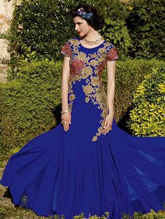 Auspicious look #Georgette #Kalidar #Gown in blue color is garnished with resham, zari, sequins work Item Code:GKDE3504 http://www.bharatplaza.com/new-arrivals/gowns.html