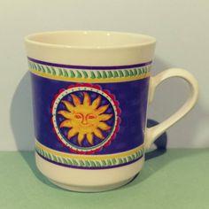 8 oz Gibson Ceramic Single Mug Smiling Sunburst Pattern Coffee Tea Cocoa Tableware Kitchenware Breakfast Lunch Friendly Stoneware Gift