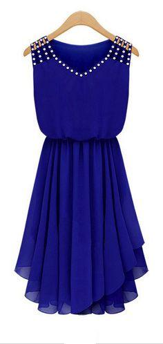 Sweet blue pleated dress