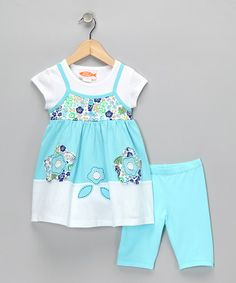 Take a look at this Sweet Potatoes Aqua Tunic & Leggings - Infant, Toddler & Girls by Sweet Potatoes on #zulily today!