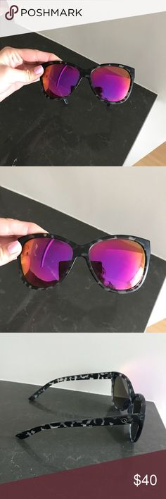 Quay Sunglasses About Last Night Quay Sunglasses  A couple scratches not much though  In great condition  Don't lay flat when closed but NOT crooked on the face at all.  Sit flat and level when open. Quay Australia Accessories Sunglasses