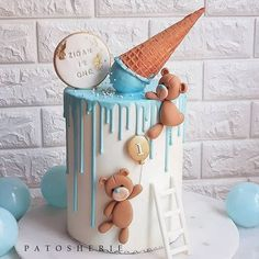 Teddy bears and melted ice cream baby shower or baby birthday cake. Baby Boy Birthday Cake, Cupcake Birthday Cake, Baby Boy Cakes, Cupcake Cakes, Teddy Bear Birthday Cake, Baking Cupcakes, Cake Baking, Ice Cream Birthday Cake, Birthday Kids