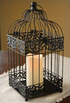 Battery Operated Bird Cage Lantern | Black. Awesome sight for crafty things !