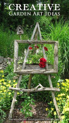 12 Creative Garden Art Ideas - I love this branch easel!