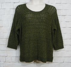 NEW Womens APT 9 Green Marled Tape Yarn Scoop Neck Sheer Pullover Sweater SZ XL #Apt9 #ScoopNeck #ChristmasWorkCasual