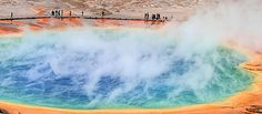 The power beneath us: People marvel at Grand Prismatic Spring in Yellowstone National Park. Yellowstone National Park, National Parks, Niagara Falls, Marvel, Spring, Nature, People, Naturaleza, Nature Illustration