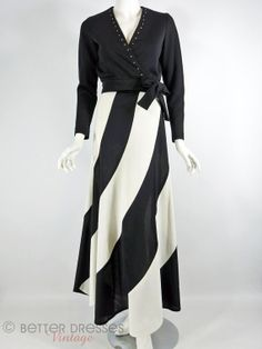 Vintage 1960s or early 70s Wrap Top and boldly striped Maxi Skirt in Graphic Black and White by BeeDeeVintage, $65.00