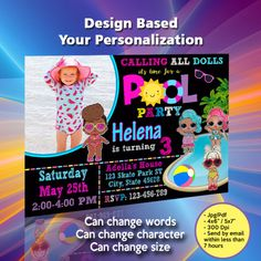 Your printable files will be delivered within hrs or less We personalize the invitation with your text and you can print as many as needed ----------------------- H O W - Minecraft Birthday Invitations, Film Material, Lol Dolls, I Am Happy, Rsvp, Words, Im Happy, Horse