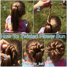 Here's my picture tutorial on how to do my #twistedflowerbun ! 1. Start with hair in pony. I like to work with damp hair and like to put gel into the hair at this point, but it can be done dry and/or without hair gel. 2. Pick up a section of hair from the top of the ponytail and twist it. 3. Loop the twisted hair around a couple of times and pin in place. 4. Repeat steps 2 and 3, alternating sides to keep bun even. 5. Continue twisting, looping and pinning until you've u...