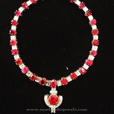 Diamond Ruby Necklace, Diamond Ruby Attgai Necklace, Diamond Attigai Necklace Designs.