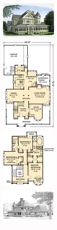Victorian House Plan 95540 | Total Living Area: 2312 sq. ft., 3 bedrooms and 2.5 bathrooms. #victorianhome