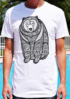 BEAR T SHIRT mens boys top white tattoo screen print art clothing tribal native american aztec hipster pattern mask animal retro surf skate