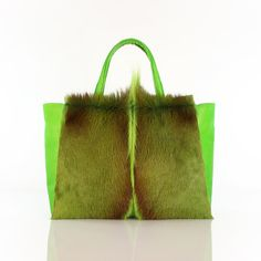 GENUINE ANTELOPE LEATHER TOTE BAG by PEcado - Green antelope hide with combination of cowhide leather | evening, every day handbag | exotic leather designer purse | designer bags and accessories | high-end fur bag | top handle purse | green and brown tote bag |
