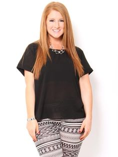 Solid Chiffon Top with Lattice Back - Plus Size - Plus Size #STYLESFORLESS#SFLSummerLove