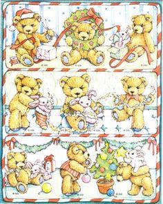 VTG Gibson Christmas Stickers - TEDDY HUGGLESBIE - BEARS