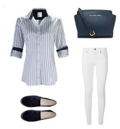 Button front, long sleeve with simple barrel cuff Sleeve can be rolled and tabbed to sleeve Contrast trim on collar, front placket and cuff, shirttail hem, Ladies Dress Design, Striped Dress, Michael Kors, Burberry, My Style, Walking, Chanel, Long Sleeve, Polyvore