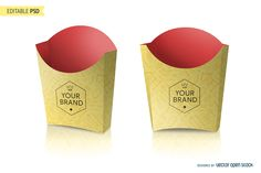 Mockup of a french fries packaging where you can add your logo, images or text. Includes a smart object layer so you can put your design and see it with perspec Box Mockup, Mockup Templates, Packaging Design, Branding Design, Product Packaging, Burger Packaging, Paper Box Template, Paper Logo, Event Branding