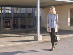 outfit, look, coat, denim shirt, leather pants, mk bag