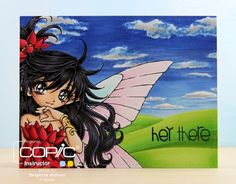 Copic Marker Europe: Fairy Landscape - Make It Crafty image - Sky and clouds: 0, B21, 24, 26, 28, C0, 1, 3 Hills: YG03, 06, 17 Skin: E000, 00, 11, 70, R20 Hair: 100, BV04, T7, 9 Dress: C5, R35, 37, 39, 89 Bracelet: Y11, 26 Wings: BG01, 000, V000, 01