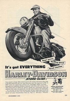 Vintage Motorcycling Advertising - Harley Davidson Hydra-Glide Motorcycle, From Popular Mechanics Magazine, December 1952.