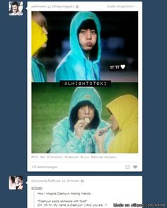 Tumblr knows stuff.. haha Dae ♥ <-- Daehyun and I have the same method of securing food.