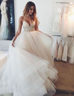 chic deep v-neck wedding dresses