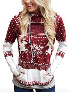 8c11691bfb6 Enjoy exclusive for CANIKAT Women Long Sleeve Reindeer Printed Double  Hooded Christmas Sweatshirt Casual Pullover Hoodie Pockets online -  Topbrandsclothing