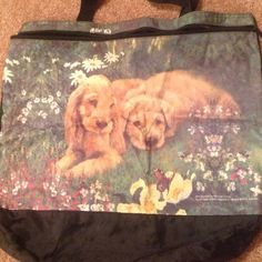"TWO PUPPIES BY NORMAN COKER TOTE SHOPPERS BAG Two puppies by Norman Coker by courtesy of Felix Rosenstiel's Widow & Son London. Outer zip pouch, inner Velcro pouch. ""16 x 17"". Bags Totes"