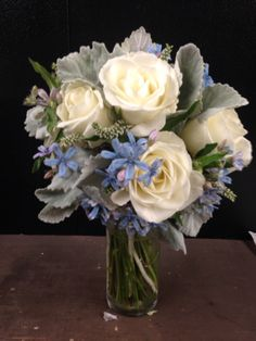CHARLESTON FLOWER MARKET- Bouquet of roses, tweedia, dusty miller, light blue and white