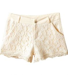 Beige Retro Style Lace Shorts pictures