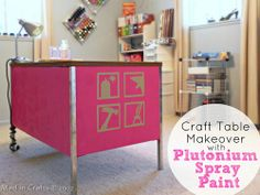 Office Desk Turned Craft Table with Plutonium Paint - Mad in Crafts #paint #furniture #diy