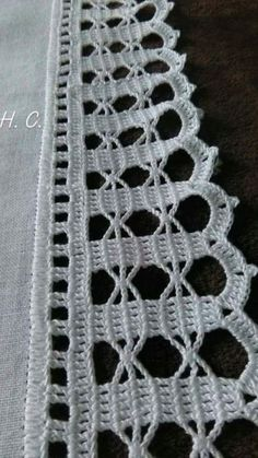 How to Crochet Wave Fan Edging Border Stitch Crochet Boarders, Crochet Edging Patterns, Crochet Lace Edging, Thread Crochet, Filet Crochet, Crochet Doilies, Crochet Flowers, Crochet Stitches, Tattoo Dentelle