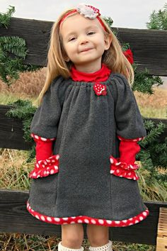 Custom Winter Fleece Toddler Dress Red Polka Dots by Gwillekkers