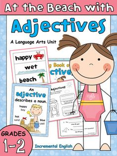 Adjectives Worksheets and Activities - At the Beach with Adjectives Adjective Anchor Chart, Adjective Worksheet, Part Of Speech Grammar, Parts Of Speech, Year 2 Maths Worksheets, Number Anchor Charts, Verb Words, Silly Sentences