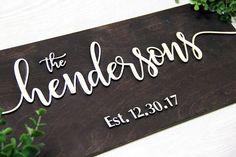 Wedding Last Name Sign Family Name Sign Established Family