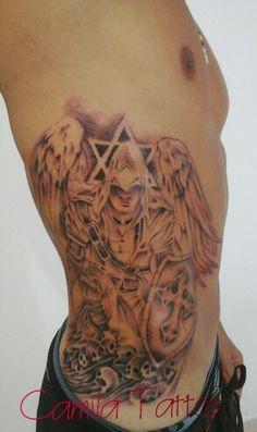 Tatuagem anjo, tatuagem sombreada de anjo na costela