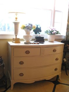 Vintage bow front mahogany Chest of Drawers painted with Annie Sloan Chalk Paint® in Country Grey