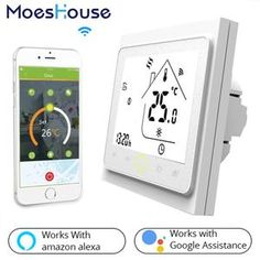 WiFi Smart Thermostat Temperature Controller for Water/Electric floor Heating Water/Gas Boiler Works with. title: WiFi Smart Thermostat Temperature Controller for Water/Electric floor Heating Google Home, Google Play, Fan Coil Unit, Wifi, Home Thermostat, Display Lcd, Gas Boiler, Alexa Echo, Works With Alexa