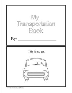 Free Emergent reader Transportation Book to color and read!
